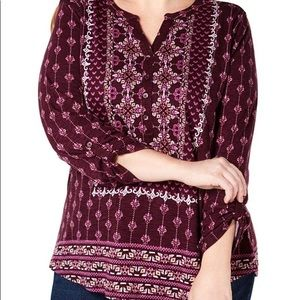 Style & Co. Printed V-Neck Henley Top